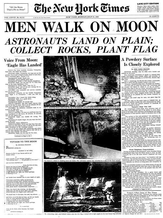 New York Times, 21 July 1969